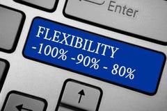 Flexibilidad del texto de la escritura de la palabra 100 90 80 Concepto del negocio para cuánto flexible usted es wi plateados gr Foto de archivo