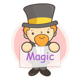 Flexibility as possible a Magician mascot. Work and Job Characte Royalty Free Stock Images
