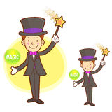 Flexibility as possible a Magician mascot. Work and Job Characte Stock Photo
