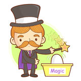 Flexibility as possible a Magician mascot. Work and Job Characte Royalty Free Stock Photo