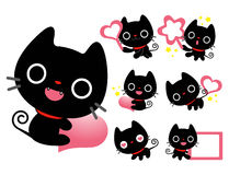 Flexibility as possible a set of Black Cat Mascot. An animal Cha Royalty Free Stock Image