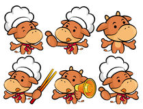 Flexibility as possible a set of Cook Cow Mascot. Food and Marke Royalty Free Stock Images