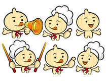 Flexibility as possible a set of Cook Garlic Mascot. Food and Ma Stock Image