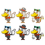 Flexibility as possible a sets of Duck Mascot. Bird Character De Royalty Free Stock Photos
