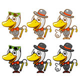 Flexibility as possible a sets of Duck Mascot. Bird Character De Royalty Free Stock Images