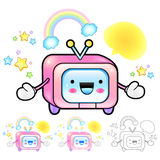 Flexibility as possible a sets of TV Mascot. Appliances Items Ch Royalty Free Stock Photos