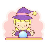 Flexibility as possible a Sorceress mascot. Work and Job Charact Stock Photos