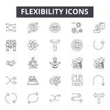 Flexibility line icons, signs, vector set, linear concept, outline illustration. Flexibility line icons, signs, vector set, outline concept linear illustration royalty free illustration