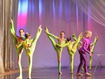 Flexibility and plastic. Flexible young acrobats Stock Photos