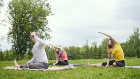 Flexibility training in the park - yoga outdoor stock video footage