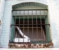Flexible aluminium foil duct at the window Stock Photos