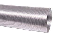 Flexible aluminum ducting for ventilation equipment. Isolated on white stock photo