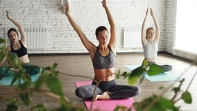 Flexible young women are doing seated side bends from lotus position. Complex of stretching asanas diring group yoga. Flexible attractive young women are doing stock video
