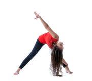 Flexible brunette doing fitness, isolated on white Stock Images