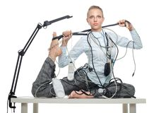 Flexible business woman dealing with disorder Stock Images