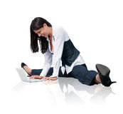 Flexible business woman with laptop Stock Photos