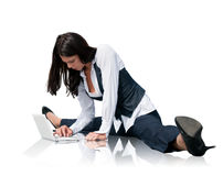 Flexible business woman with laptop Royalty Free Stock Images