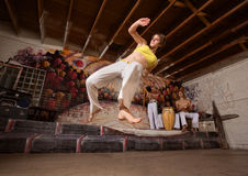 Flexible Capoeira Woman Royalty Free Stock Image