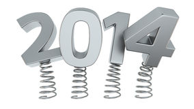 Flexible 2014. Chrome digits 2014 jumping on springs Stock Image