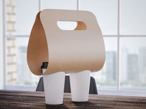 Flexible Coffee Holder on the office table. 3d rendering Stock Photography