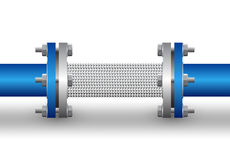 Flexible connector. Of steel pipe background royalty free illustration