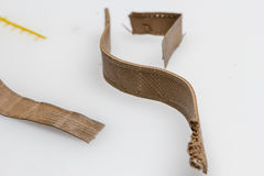 Flexible 3d printing material. Experimenting with 3D printing materials, plastic, pla, abs Stock Photo