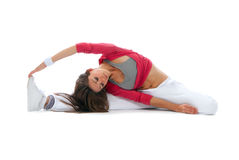 Flexible dancer woman sit on twine Stock Photo