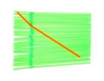 Flexible Drinking Straws Green Orange Stock Photos