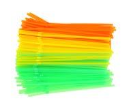 Flexible Drinking Straws Green Yellow Orange Royalty Free Stock Images