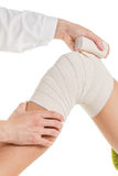 Flexible elastic supportive orthopedic bandage, compression stabilizer knee. Stock Photography