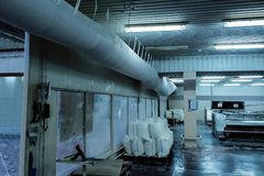Flexible, fabric, pvc, ductwork,,ventilation,industrial, duct. Flexible fabric or pvc like DuctSox ductwork installed in the clean facility. Instant dles stock images