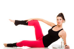 Flexible girl doing stretching pilates exercise Royalty Free Stock Images