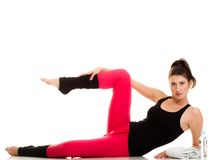 Flexible girl doing stretching pilates exercise Stock Photography