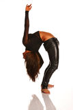 Flexible girl stretching. Flexible woman stretching isolated on white background Royalty Free Stock Photo