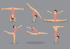 Flexible Gymnast Woman Vector Icon Set Stock Image
