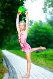 Flexible little girl doing gymnastics vertical Royalty Free Stock Photography