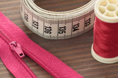 Flexible measuring meter of fabric Stock Photos