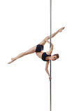 Flexible pole dancer, isolated on white background royalty free stock photos