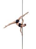 Flexible pole dancer, isolated on white background Royalty Free Stock Photos