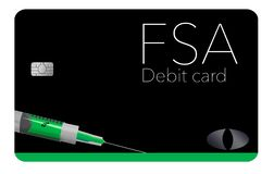 This is a flexible spending account debit card. This FSA card is generic with mock logos. This is an illustration vector illustration