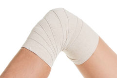 Flexible supportive orthopedic bandage, compression stabilizer knee. Stock Photos