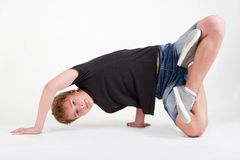 Flexible Teen b-boy standing in freeze Royalty Free Stock Photography