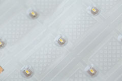Flexible ultra thin film with LEDS. Macro shot royalty free stock photos