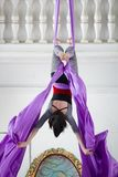 Flexible woman gymnast hangs upside down on the aerial hoop. Close up Royalty Free Stock Image