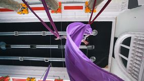 Flexible woman performs a gymnastic elements in the air holding with hands for a aerial silk. Bottom view stock video