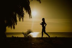 Flexible woman training on a beach Royalty Free Stock Images