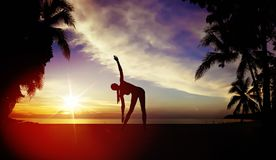 Flexible woman training on a beach Stock Photography