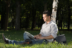 Flexible Work-technology In Nature Stock Photos