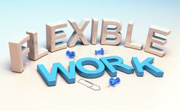 Flexible Working, Workplace Flexibility. 3D illustration words flexible work and office supplies. Concept of workplace flexibility Royalty Free Stock Photos