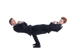 Flexible young people posing as businessmen Royalty Free Stock Photo